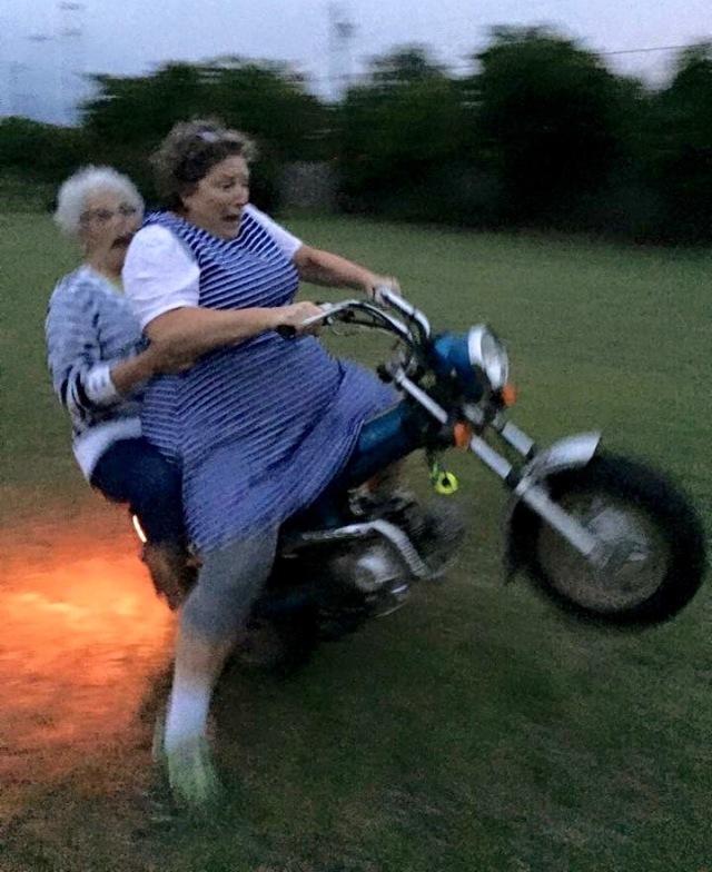 Mrs Luiken on motorbike (1)